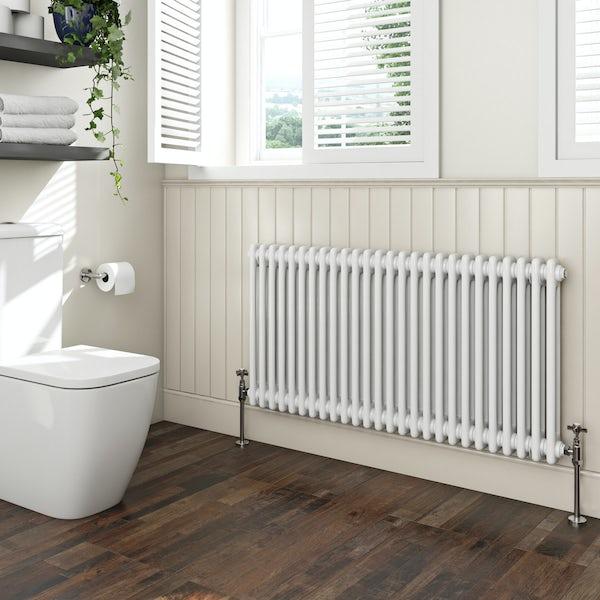 The Bath Co. Camberley white 2 column radiator 600 x 1194