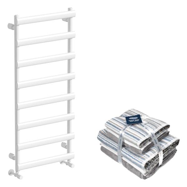 Mode Ellis white radiator 1150x500 with Silentnight Zero twist grey 4 piece towel bale