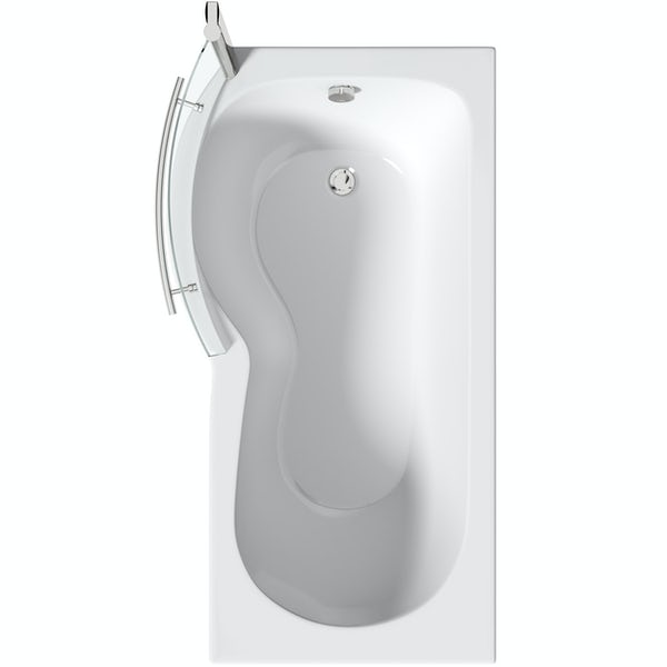 Orchard P shaped left handed shower bath with 6mm shower screen and rail