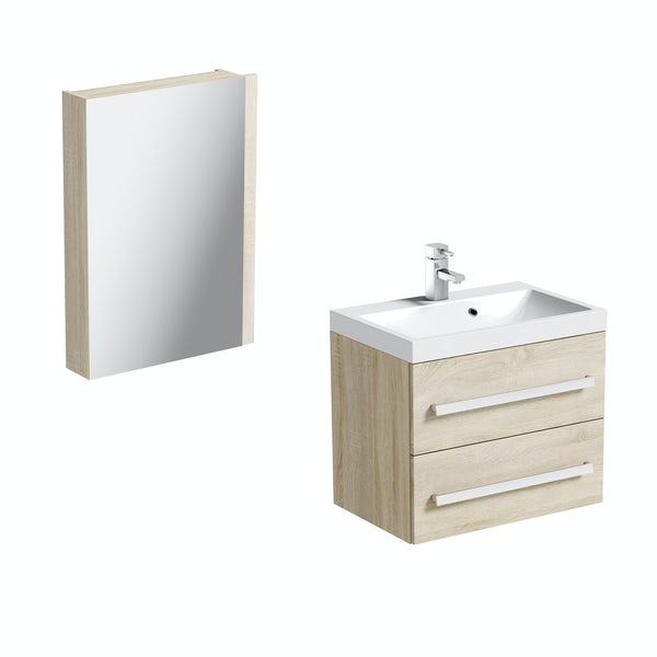 Orchard Wye oak wall hung vanity unit with mirror cabinet 600mm
