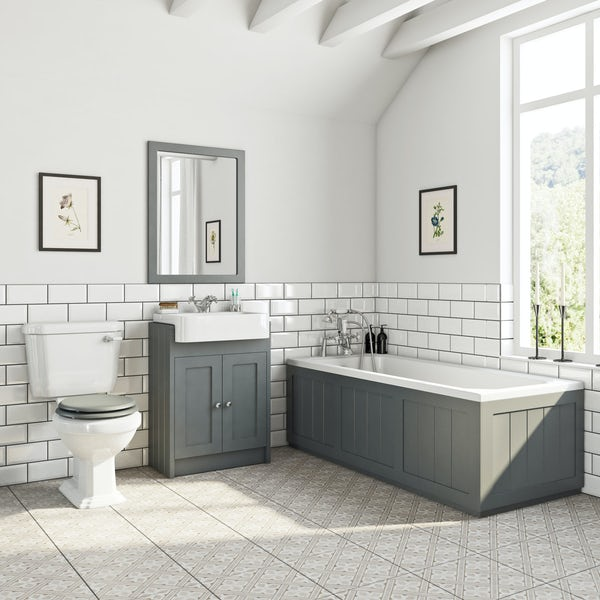 The Bath Co. Dulwich stone grey furniture suite with straight bath 1700 x 700mm