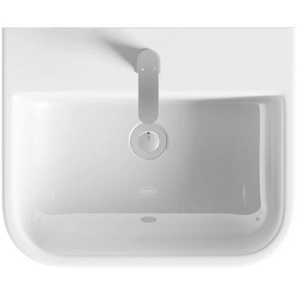 RAK Series 600 1 tap hole semi recessed countertop basin
