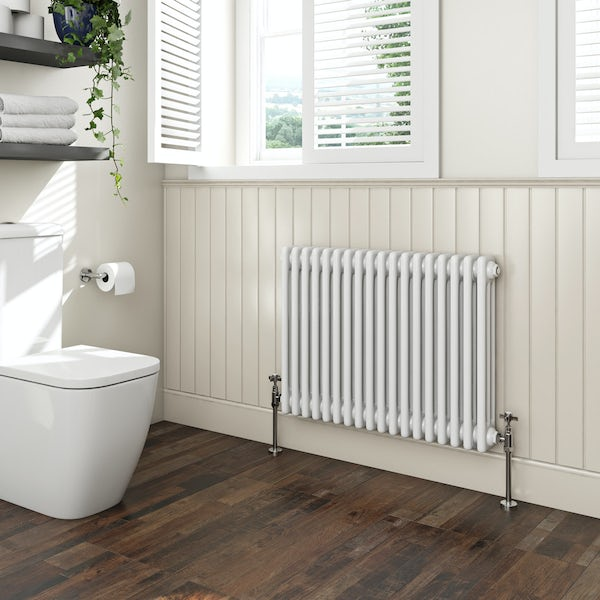 The Bath Co. Camberley white 3 column radiator 600 x 834