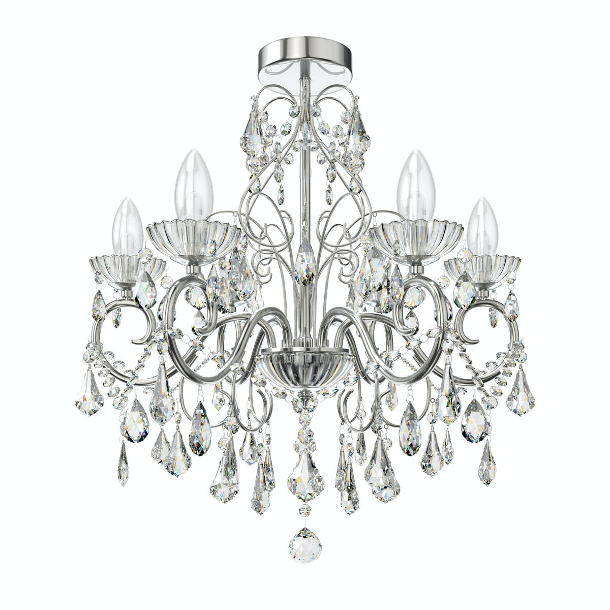 Forum Solen 5 light bathroom chandelier at VictoriaPlum.com