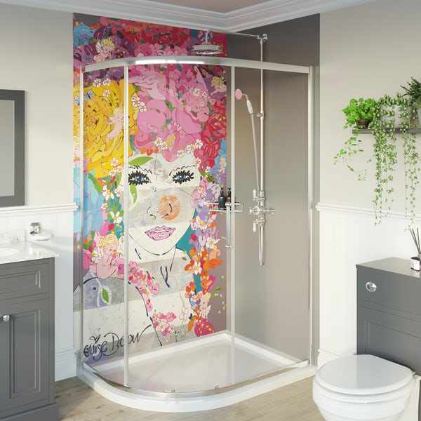 Louise Dear The Serenade Grey acrylic shower wall panel pack with right handed offset quadrant enclosure