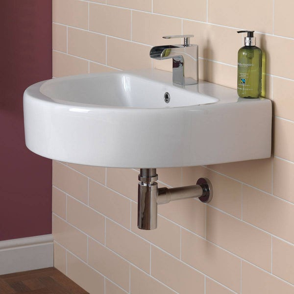 Wall hung basin chrome round bottle trap