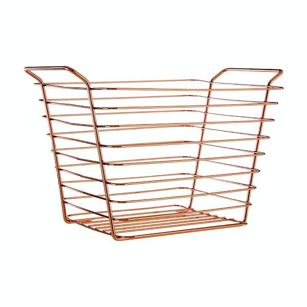 Rose gold large wire storage basket