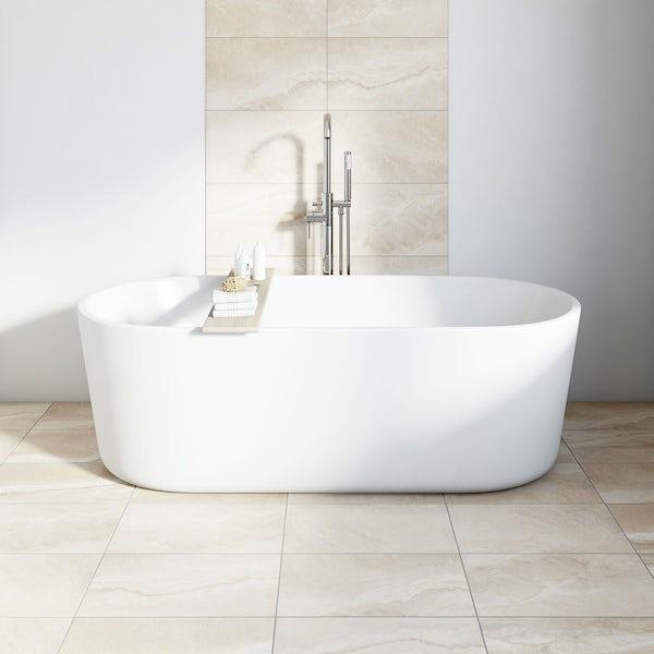 British Ceramic Tile Stone Sand Beige Matt Tile 298mm X 498mm - Beige-stone-bathroom-tiles
