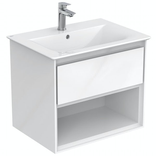 Ideal Standard Concept Air gloss and matt white wall hung open vanity unit and basin 600mm with free tap