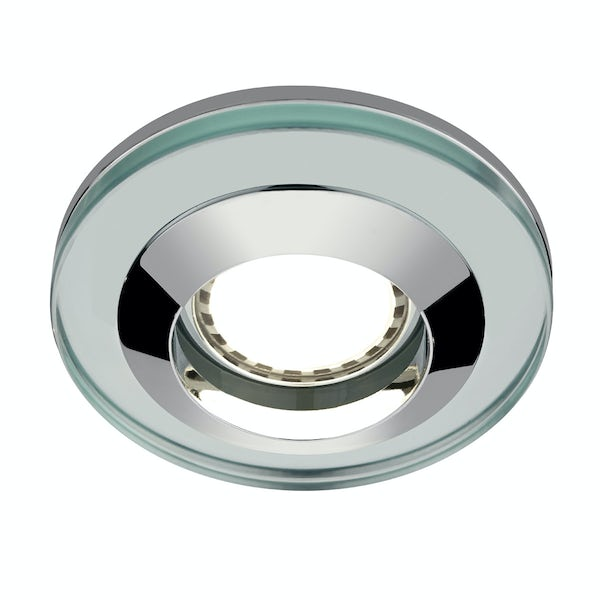 Round glass shower light with dimmable bulb in cool white