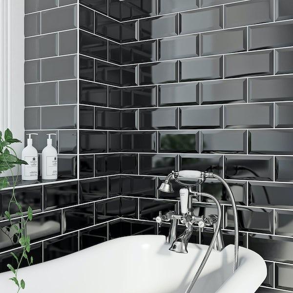 Metro black gloss bevelled brick tile 100mm x 200mm