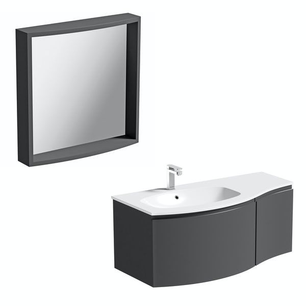 Mode Harrison slate left handed wall hung vanity unit 1000mm with mirror