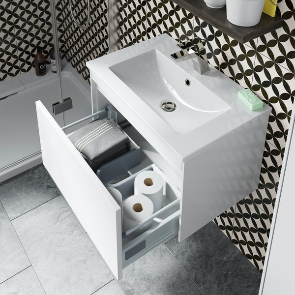 Mode Austin white wall hung vanity unit and basin 600mm