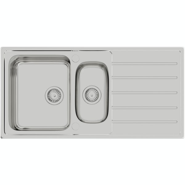 Schon Erne universal 1.5 bowl stainless steel kitchen sink with waste  1000 x 500