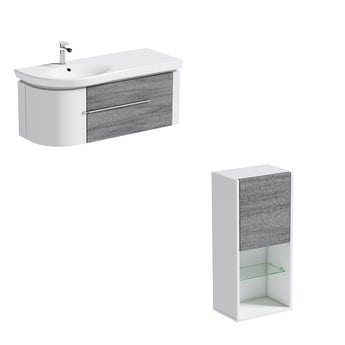 Mode Burton white & grey ice stone wall hung vanity unit 1200mm with storage unit set