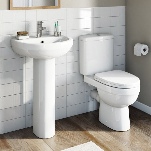 Orchard Eden complete cloakroom suite with full pedestal basin 550mm with tap and waste