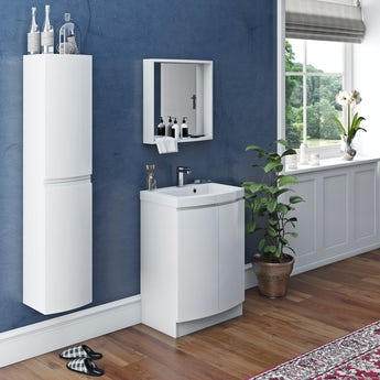 Mode Harrison white furniture package with floorstanding vanity door unit 600mm