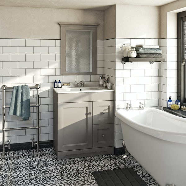 The Bath Co. Winchester graphite vanity unit and basin 760mm with mirror
