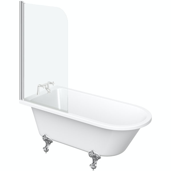 The Bath Co. Dulwich freestanding shower bath with screen and bath mixer tap pack