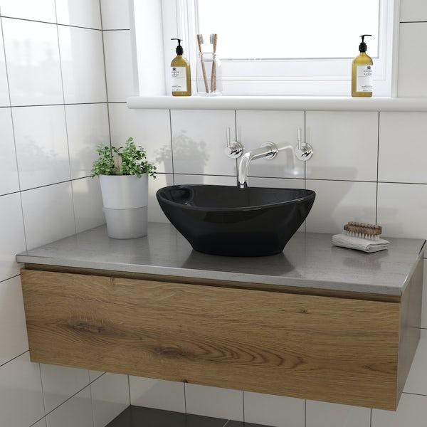 Orchard Dal black coloured countertop basin 410mm