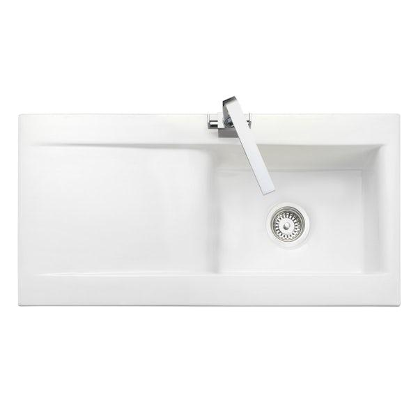Rangemaster Nevada 1.0 bowl ceramic white reversible kitchen sink
