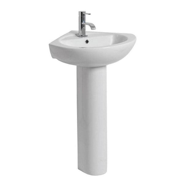 Clarity corner 1 tap hole full pedestal basin 565mm