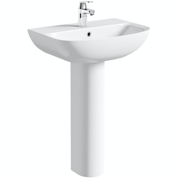 Grohe Bau 1 tap hole full pedestal basin 600mm