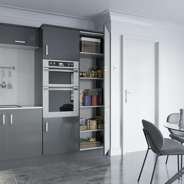 Schon Boston mid grey slab 600mm larder unit