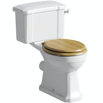 The Bath Co. Camberley close coupled toilet with oak effect soft close toilet seat