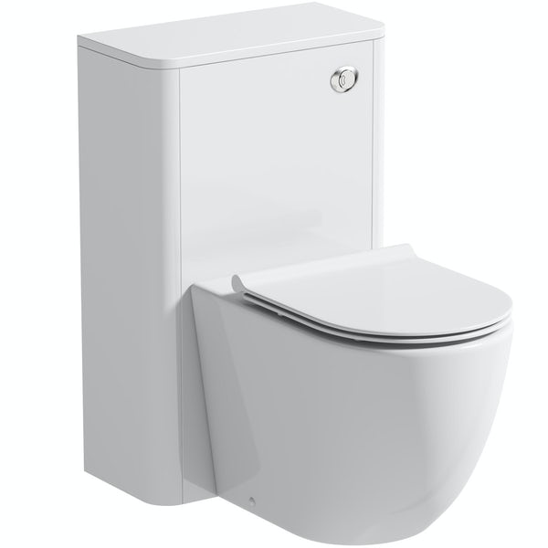 Mode Harrison snow back to wall unit and rimless toilet with slimline soft close seat