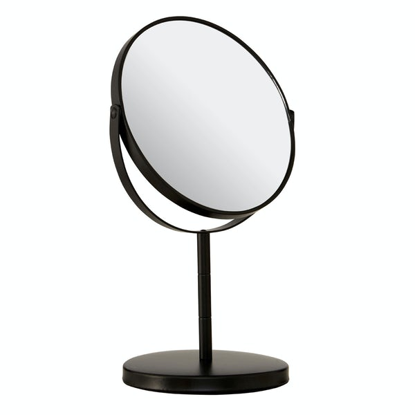 Black large freestanding vanity mirror with 2x magnification