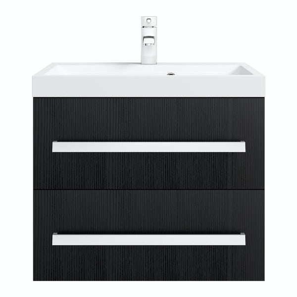 Orchard Wye essen black wall hung vanity unit and basin 600mm with tap