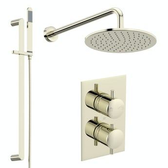 Mode Spencer round gold twin diverter valve shower set