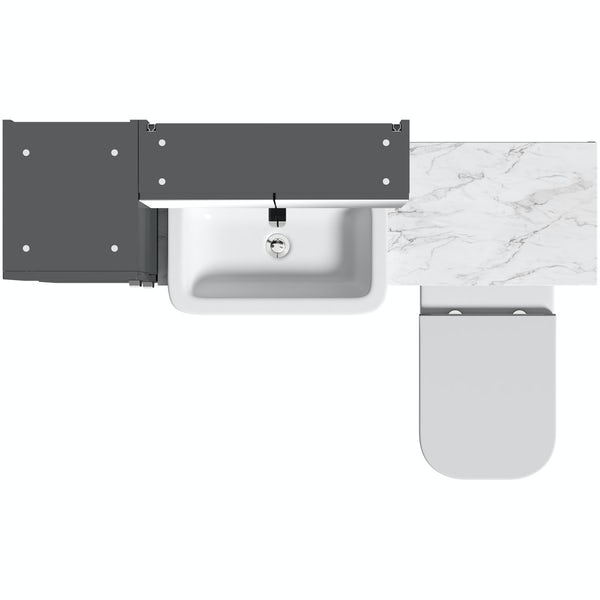 Mode Nouvel gloss grey tall fitted furniture & mirror combination with white marble worktop