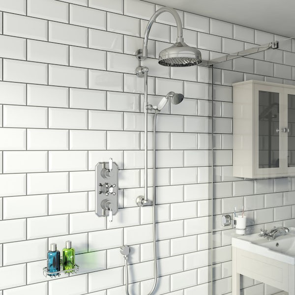 The Bath Co. Camberley concealed thermostatic mixer shower with wall arm and slider rail