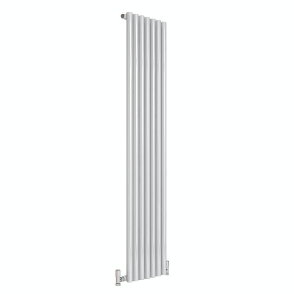 Reina Round white single steel designer radiator
