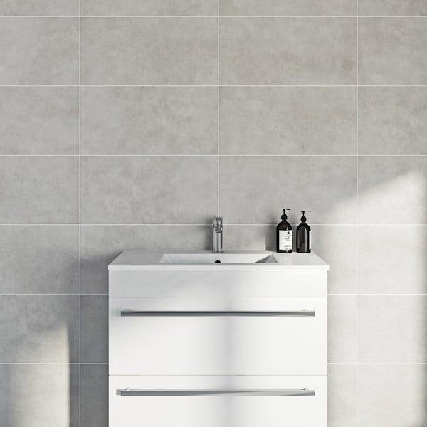 British Ceramic Tile Canvas clay grey matt tile 298mm x 598mm