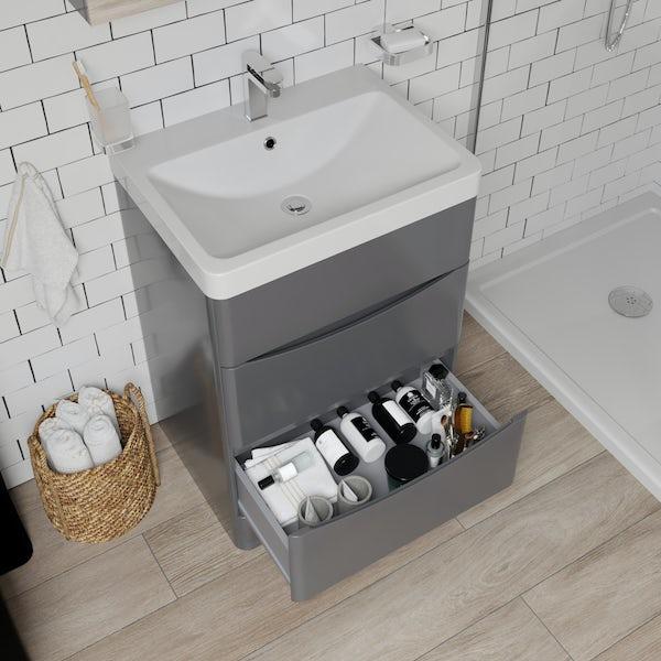 Mode Adler grey 600mm floorstanding vanity unit and basin