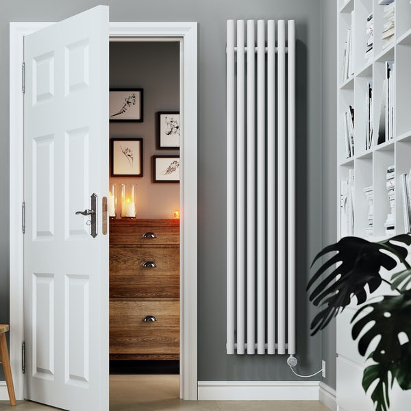 Terma Rolo Room E white electric radiator with MOA Blue element - white