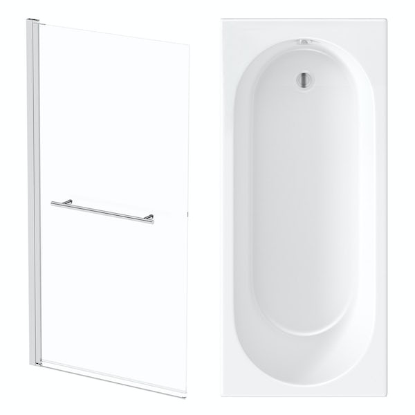 Orchard round edge shower bath with 8mm hinged shower screen and rail
