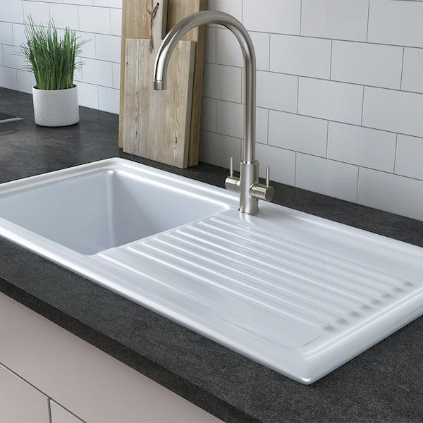 Tuscan Cortona ceramic 1.0 bowl polar white universal kitchen sink