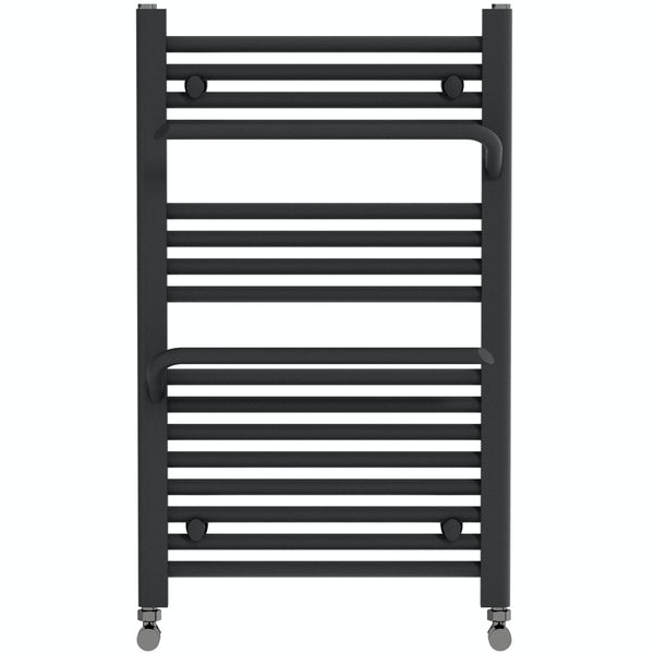 Mode Rohe anthracite grey heated towel rail with hangers