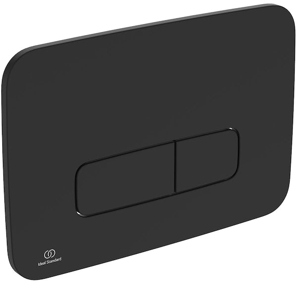 Ideal Standard silk black Oleas M3 flush plate with Prosys 120mm concealed cistern