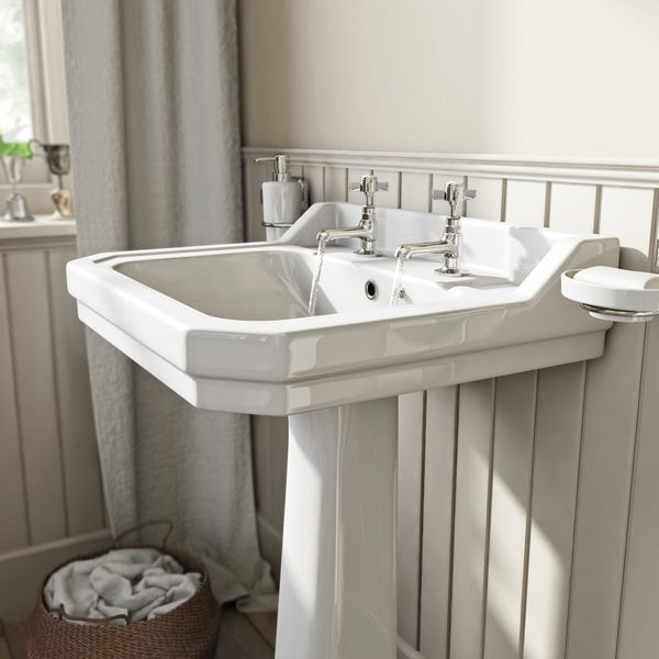 The Bath Co. Camberley 2 tap hole full pedestal basin 610mm with taps