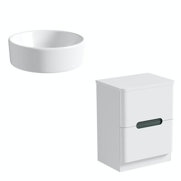 Mode Ellis slate countertop drawer unit 600mm with Calhoun basin