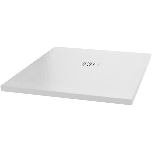 Mode 6mm black framed shower enclsoure bundle with white slate effect shower tray 1200 x 800