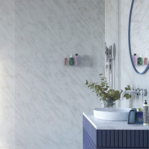 Showerwall Carrara Marble waterproof shower wall panel