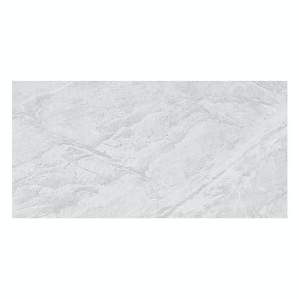 Laguna light grey stone effect matt wall and floor tile 300mm x 600mm