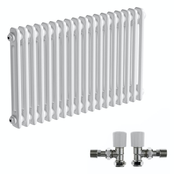 The Bath Co. Camberley white 2 column radiator 500 x 834 with angled valves