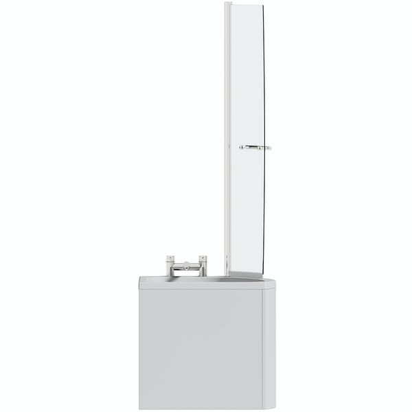 Orchard spacesaver single ended right handed shower bath with 6mm screen 1690 x 690
